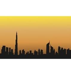 Dubai at the sunrise of silhouette vector