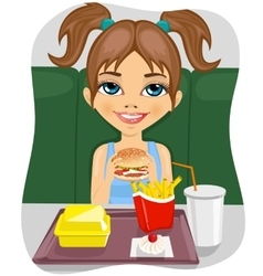 Girl eating burger with french fries vector