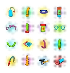 Sex shop icons comics style vector
