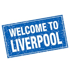 Liverpool blue square grunge welcome to stamp vector