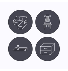 Corner sofa nightstand and chair icons vector