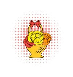 Basket flowers comics icon vector