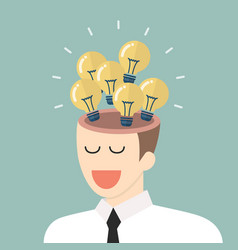 Bright idea from businessman head vector