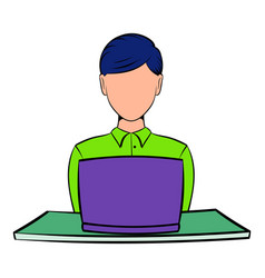 businesswoman using laptop icon cartoon vector image