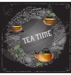 Card with outline cup leaf words tea time vector
