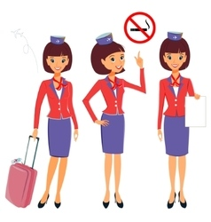 Cheerful cartoon flight attendant in uniform vector