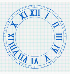 Clock with roman numerals on lined paper vector