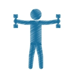 Drawing colored silhouette man barbell lifting vector