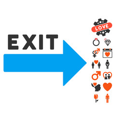 Exit arrow icon with valentine bonus vector