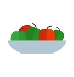 Fresh green red apples plate healthy fresh organic vector image