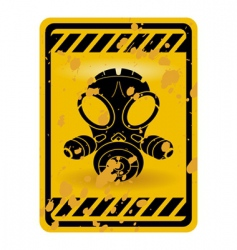 gas mask warning sign vector image vector image
