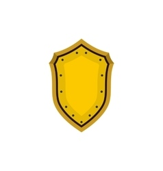 Golden shield icon in flat style vector