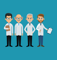 Group doctor professional staff vector