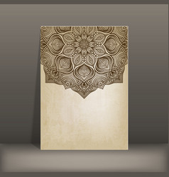 grunge paper card with circular pattern vector image vector image