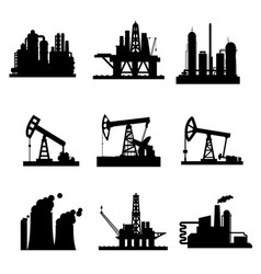 icons of oil derricks and gas mining plants vector image vector image