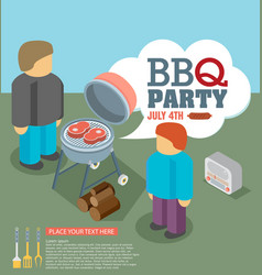 Invitation card on the barbecue vector