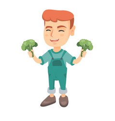 little caucasian boy laughing and holding broccoli vector image vector image