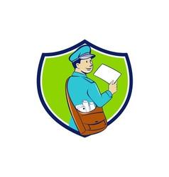 Mailman deliver letter crest cartoon vector