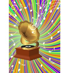 Musical background with retro gramophone vector image