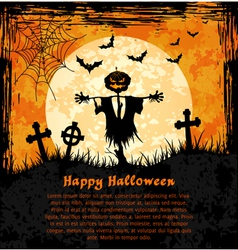 Orange grungy halloween background with scarecrow vector image vector image