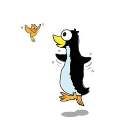 Pengiun and bird cartoon vector image vector image