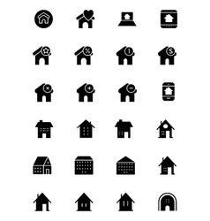Real estate solid icons 5 vector