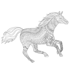 Running horse with high details vector