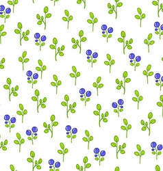 Seamless floral pattern with blueberries vector image