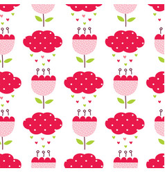 Seamless pattern with cute abstract flowers and vector