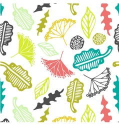 Seamless pattern with floral elements and leaves vector image vector image