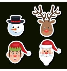 Set faces santa reindeer snowman and elf christmas vector