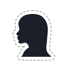 Silhouette head female communication vector
