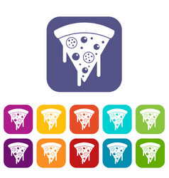 Slice of pizza with salami melted cheese icons vector