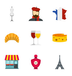 symbols of france icons set flat style vector image