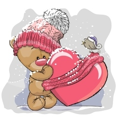 Teddy bear in a knitted cap vector
