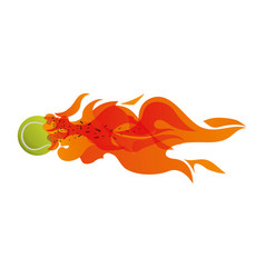 Tennis ball in flammes vector
