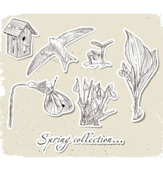 Vintage set of spring elements vector image