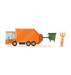 worker in orange uniform loading recycle bin into vector image vector image