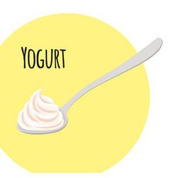 Yogurt with spoon cream milk product in plastic vector