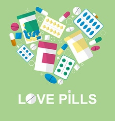 Set of pills in the form heart for your vector