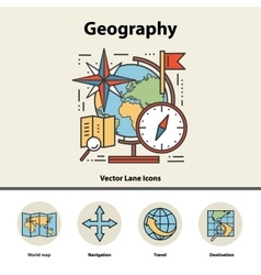 Modern color thin line concept of geography for vector