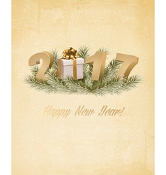 Happy new year 2017 background with a gift box vector