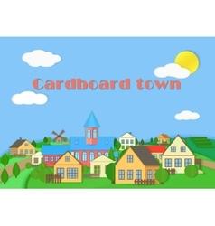 Old town cardboard village landscape paper color vector