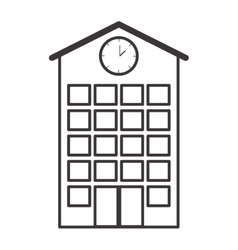 Silhouette high school structure with clock vector