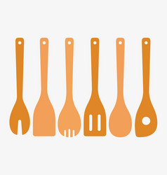 bamboo cooking utensils vector image