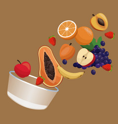 Bowl fruit nutrition meal vector