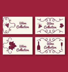 Wine collection card template set vector