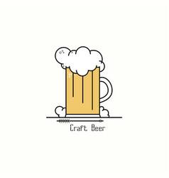 glass of beer with foam line art badge logo vector image