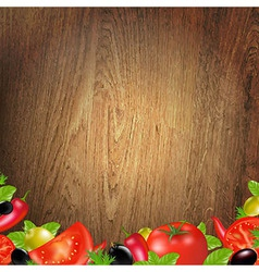 Wood background with vegetables vector