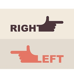 Logo hand shows direction of right hand left hand vector
